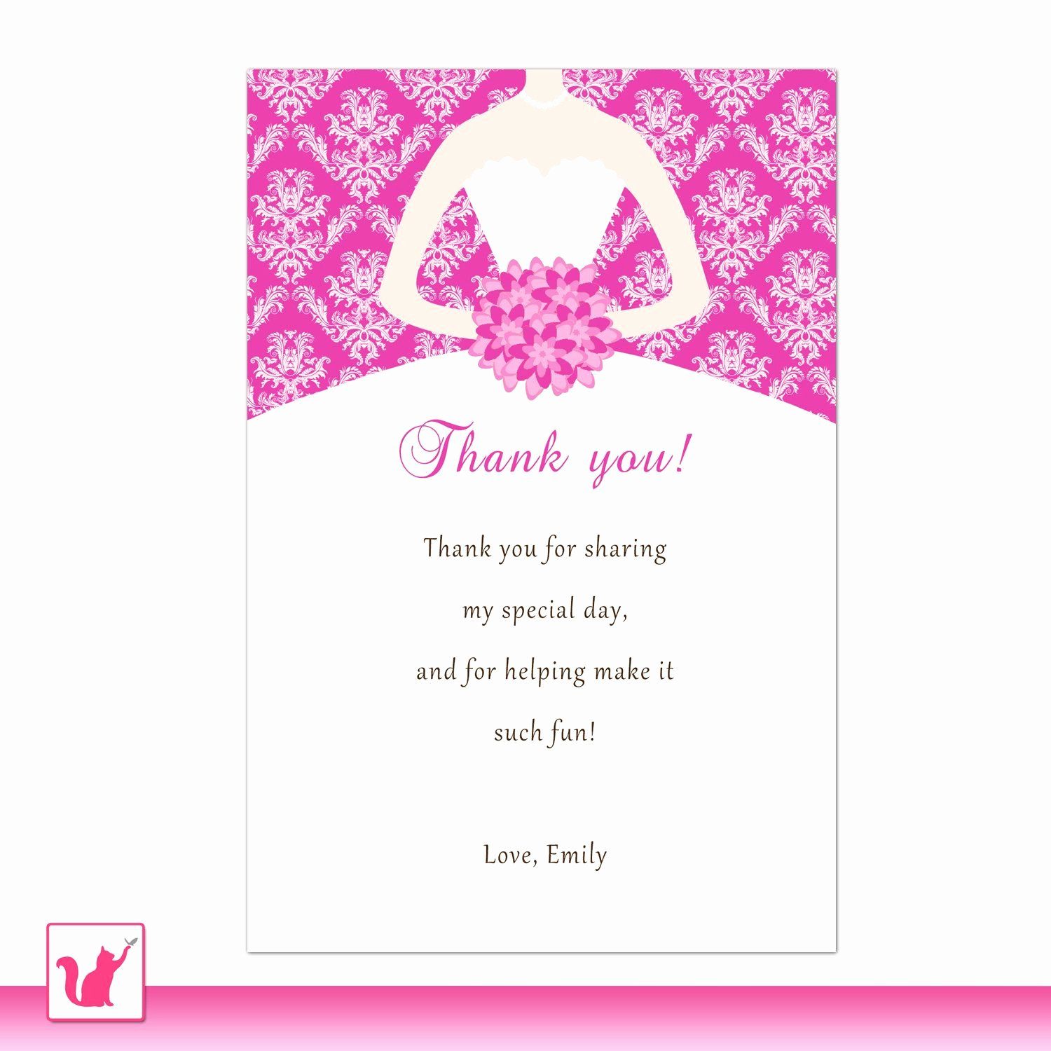 Bridal Shower Thank You Examples Lovely Bride Dress Bridal Shower Thank You Card Hot Pink Thank