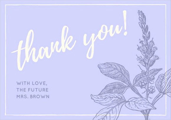 Bridal Shower Thank You Examples New Thank You Card Templates Free Sample Example format
