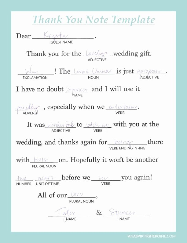 Bridal Shower Thank You Examples New Writing Personalized Wedding Thank You Notes