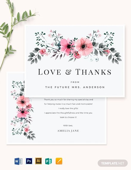 Bridal Shower Thank You Examples Unique Bridal Shower Thank You Card Template Word Psd