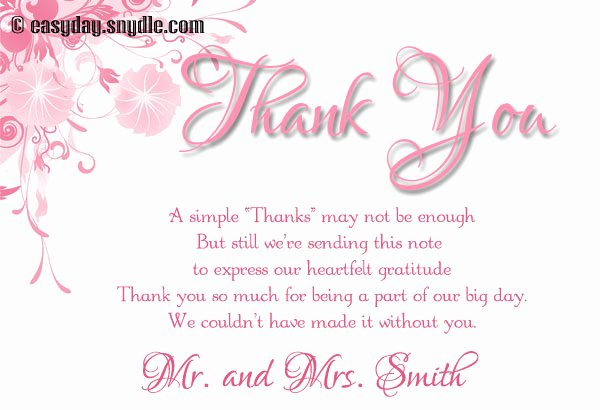 Bridal Shower Thank You Examples Unique Bridal Shower Thank You Cards Wording