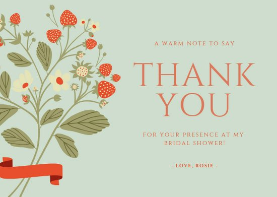 Bridal Shower Thank You Template Beautiful Customize 68 Bridal Shower Thank You Card Templates