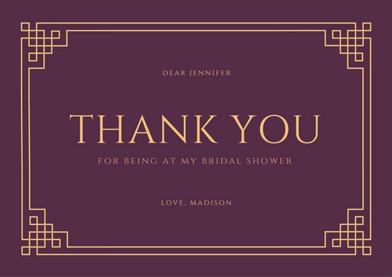 Bridal Shower Thank You Template Beautiful Thank You Card Templates Canva
