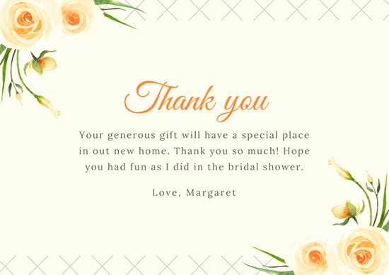 Bridal Shower Thank You Template Fresh Customize 170 Bridal Shower Thank You Card Templates