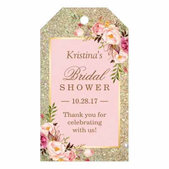 Bridal Shower Thank You Template Inspirational Gold Glitter Pink Floral Bridal Shower Thank You Gift Tags