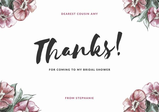 Bridal Shower Thank You Template Lovely Customize 68 Bridal Shower Thank You Card Templates