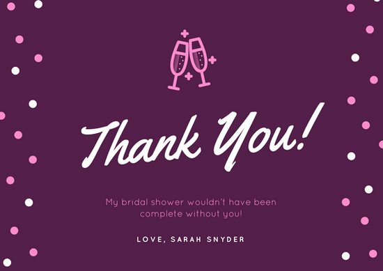 Bridal Shower Thank You Template Unique Customize 171 Bridal Shower Thank You Card Templates