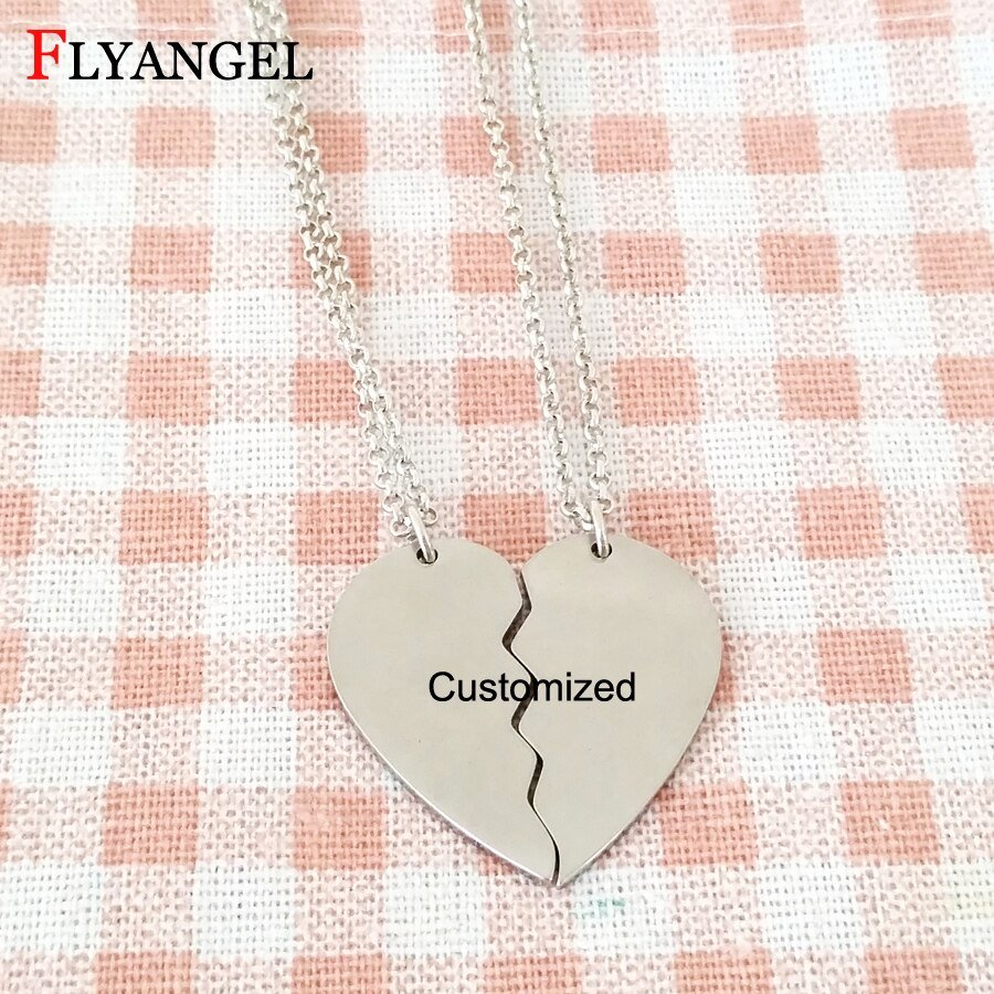 Broken Heart Letters to Him Elegant Fashion Customized Name Letter Necklace Broken Heart
