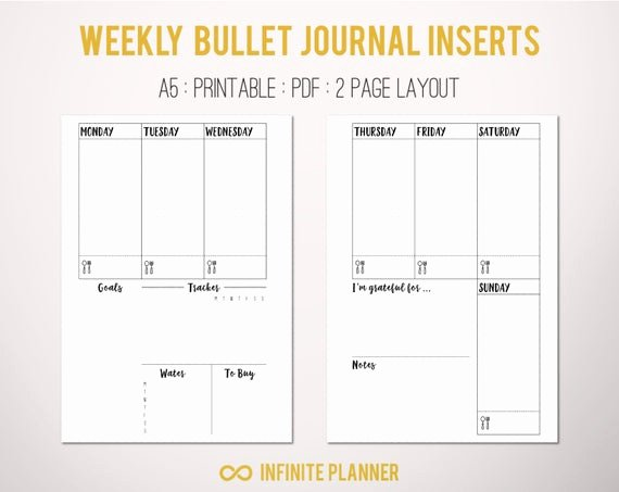 Bullet Journal Layout Templates Elegant A5 Weekly Layout On 2 Pages Bullet Journal Printable