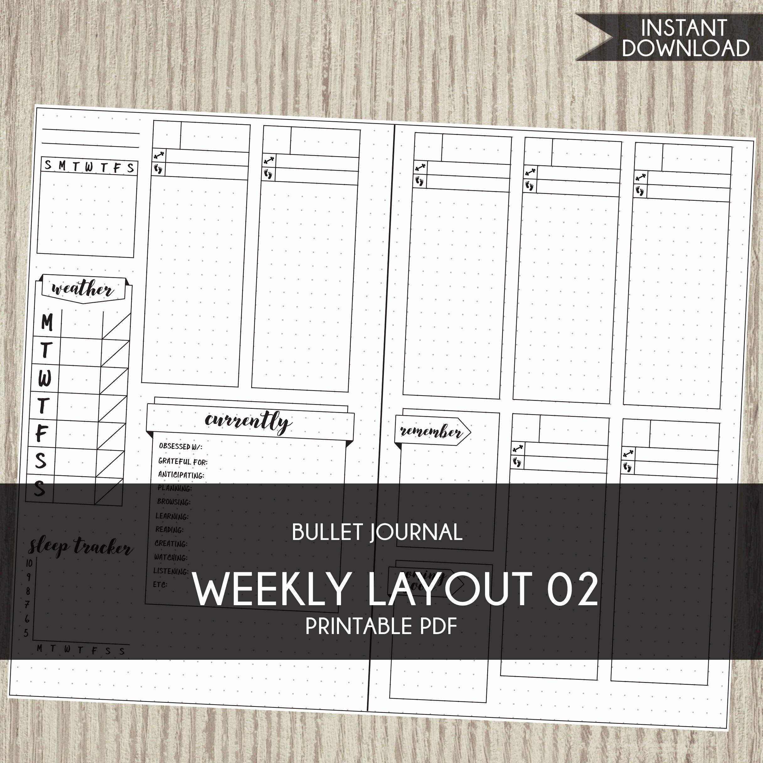 Bullet Journal Layout Templates Elegant Bullet Journal Template Printable Planner Weekly Layout Bujo
