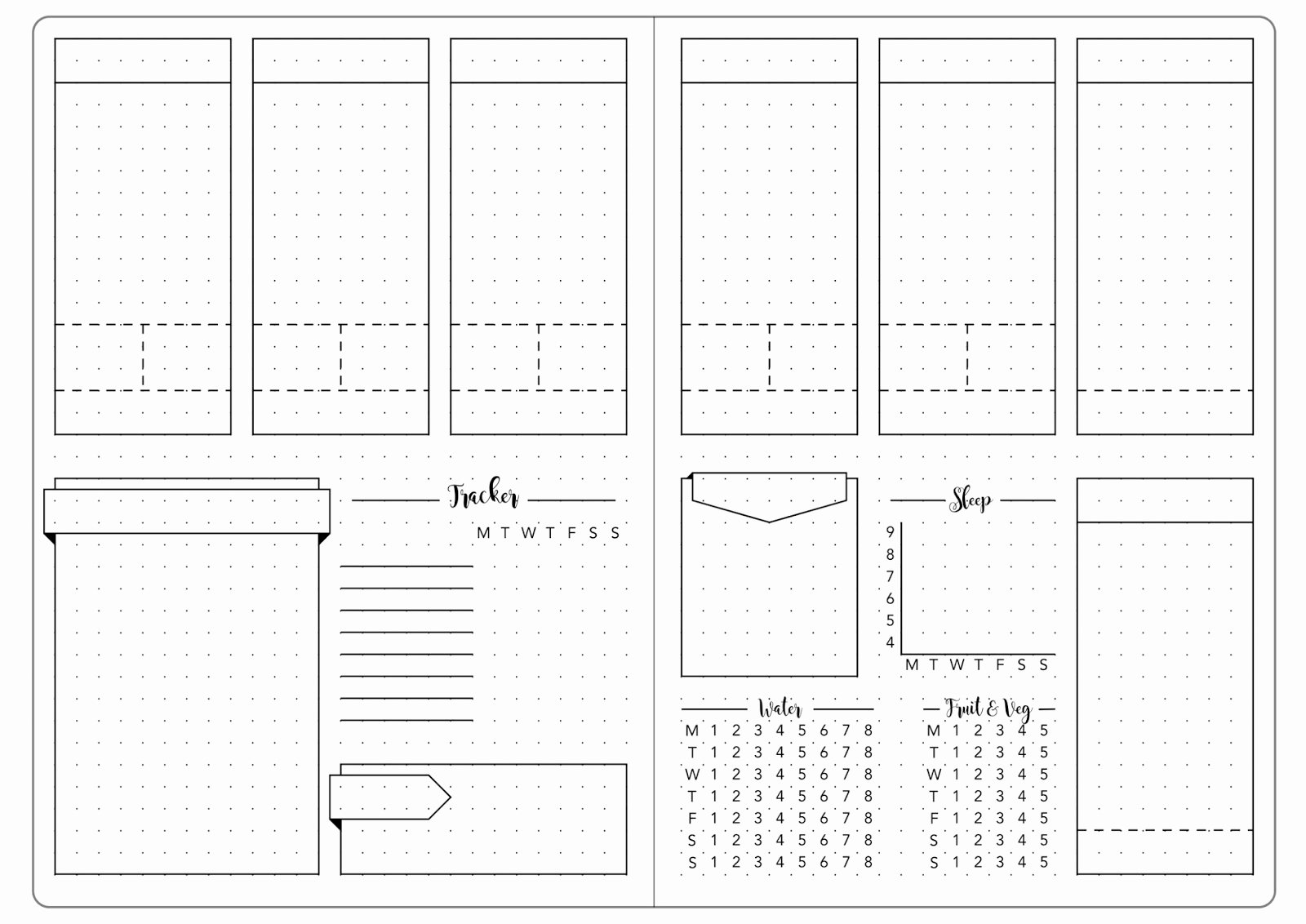 Bullet Journal Layout Templates Lovely Detailed Weekly Set Up & Template Kate Louise