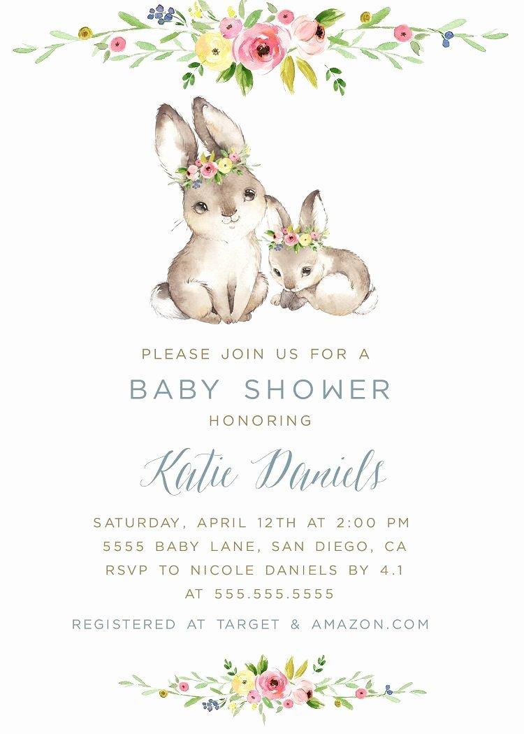 Bunny Birthday Invitation Template Beautiful Bunny Baby Shower Invitation Template Spring Invite