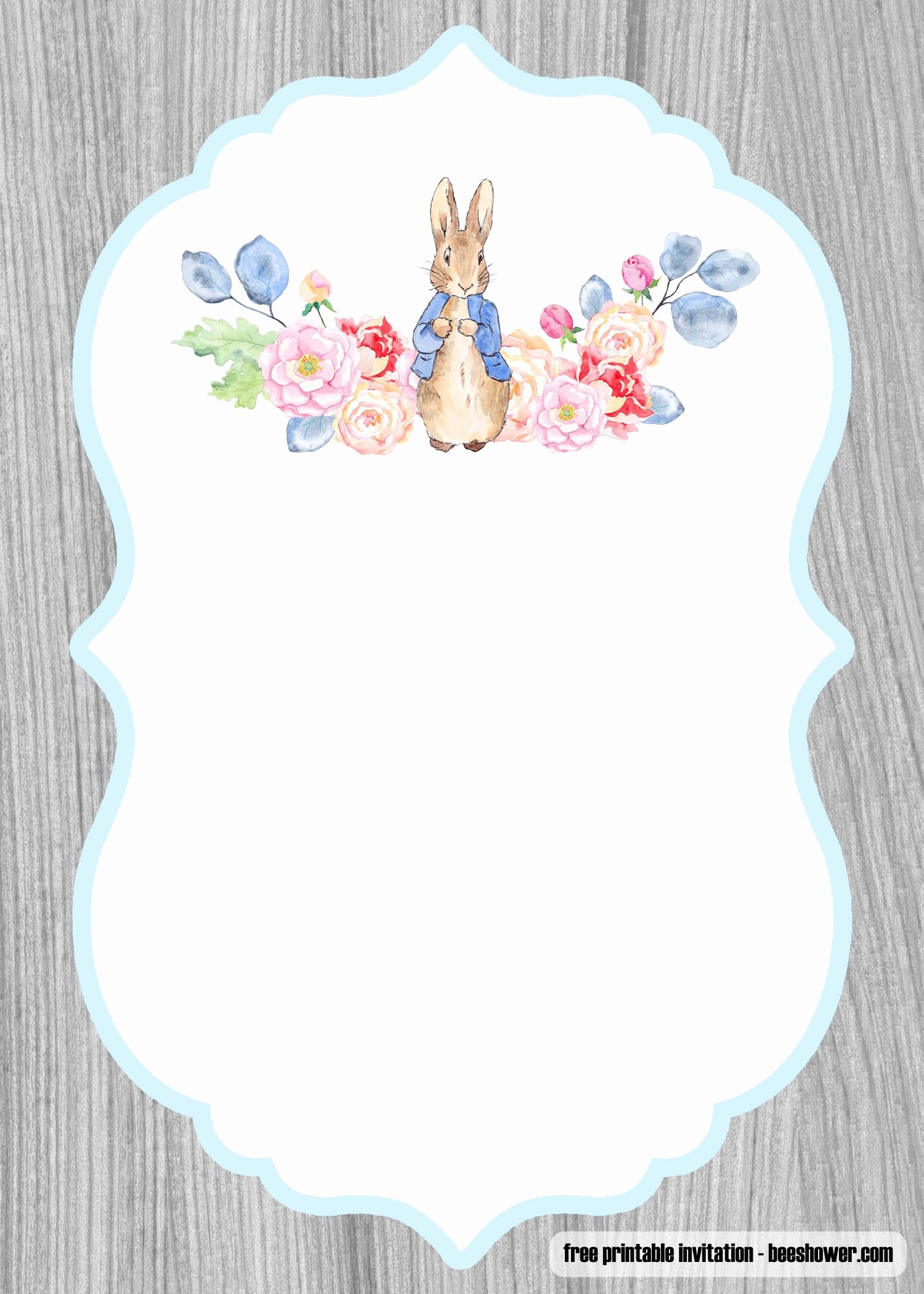 Bunny Birthday Invitation Template Beautiful Download now Free Peter Rabbit Baby Shower Invitations