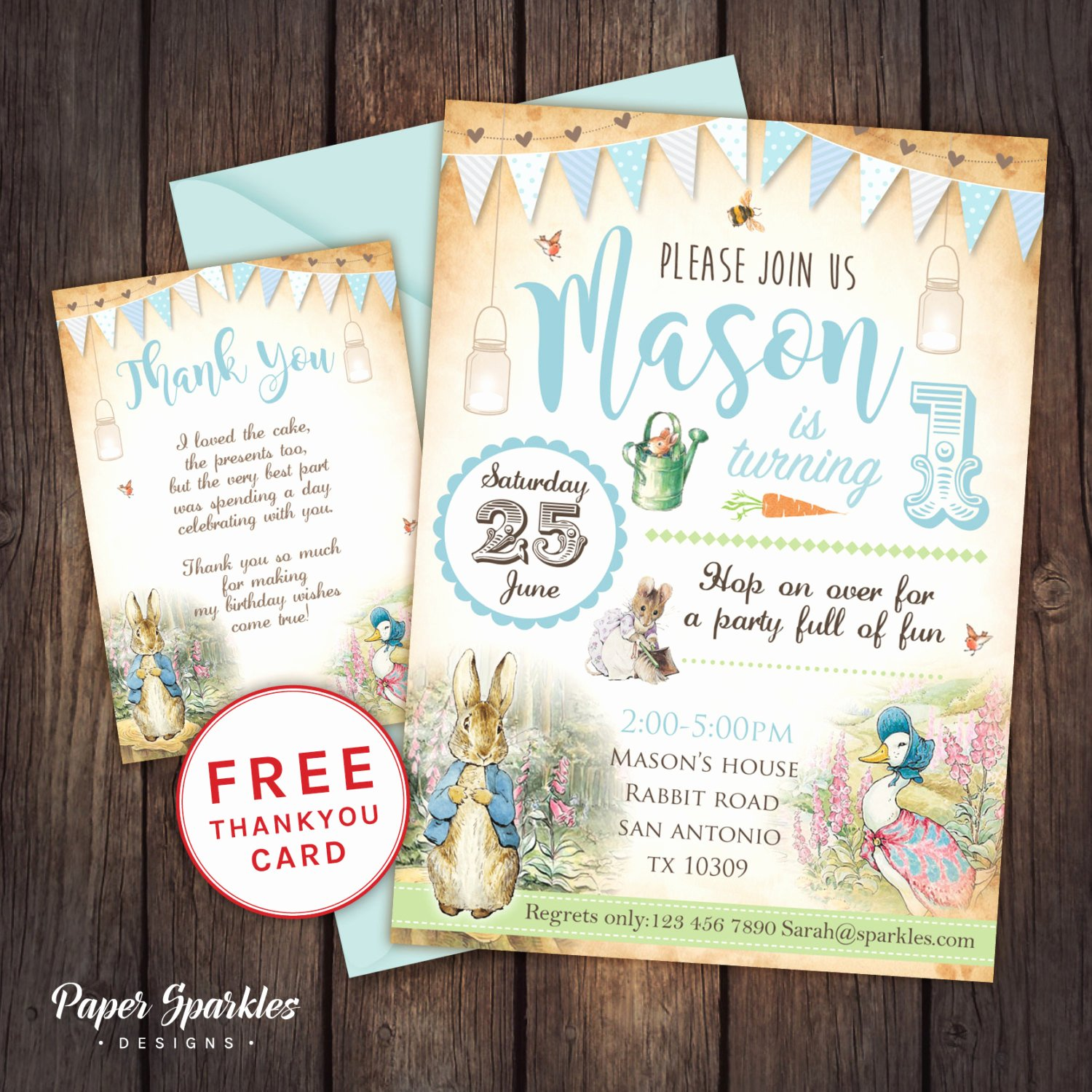 Bunny Birthday Invitation Template Best Of Peter Rabbit Invitation Peter Rabbit by Papersparkledesigns