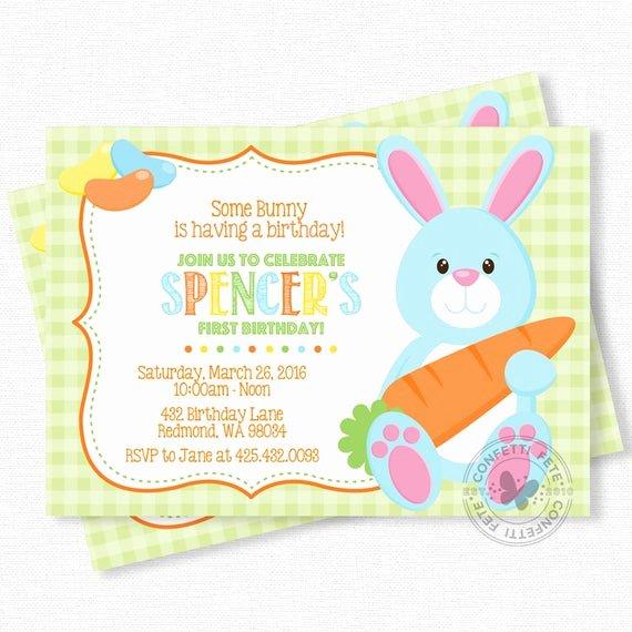 Bunny Birthday Invitation Template Elegant Bunny Birthday Invitation Easter Birthday Invitations