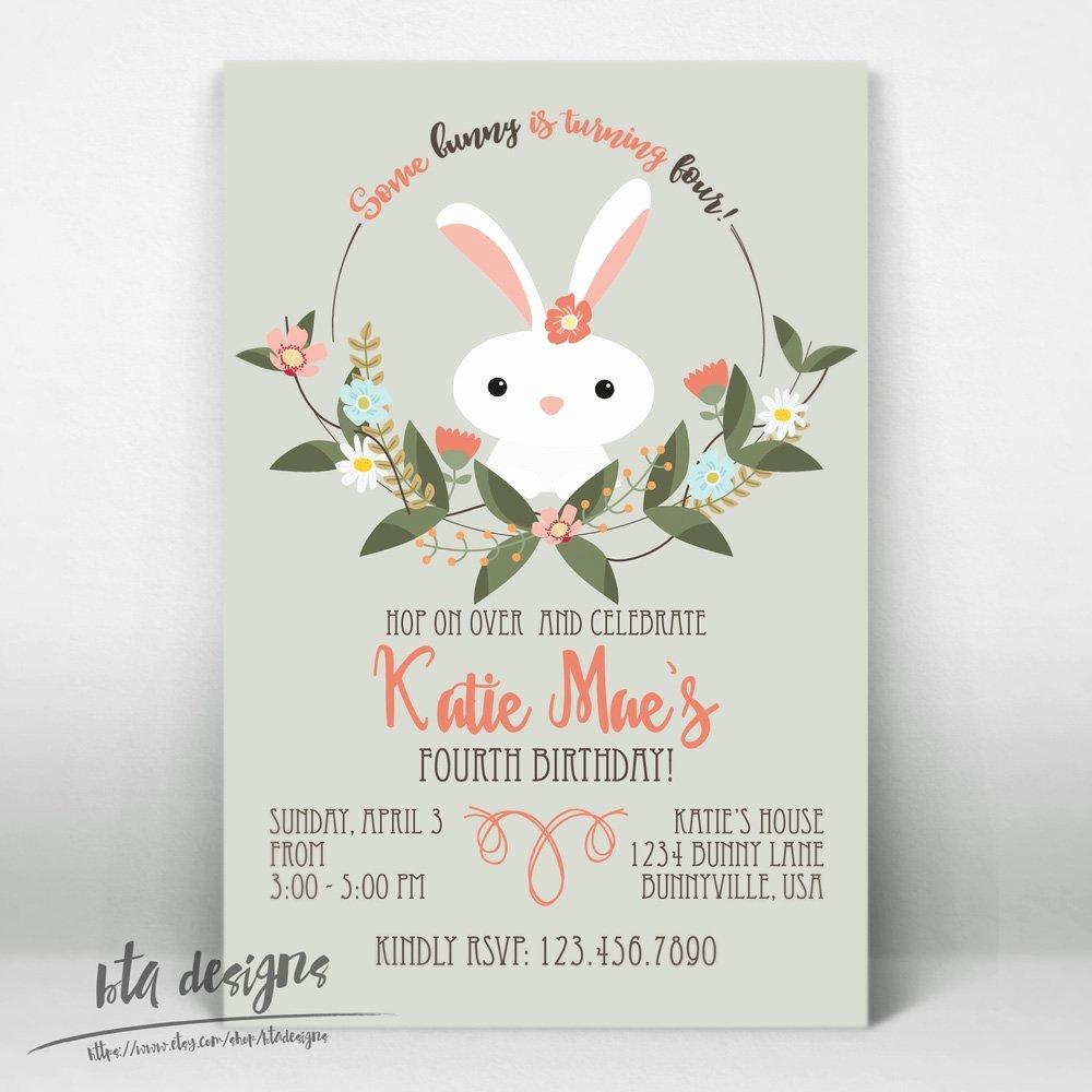 Bunny Birthday Invitation Template Elegant Bunny Birthday Party Invitations