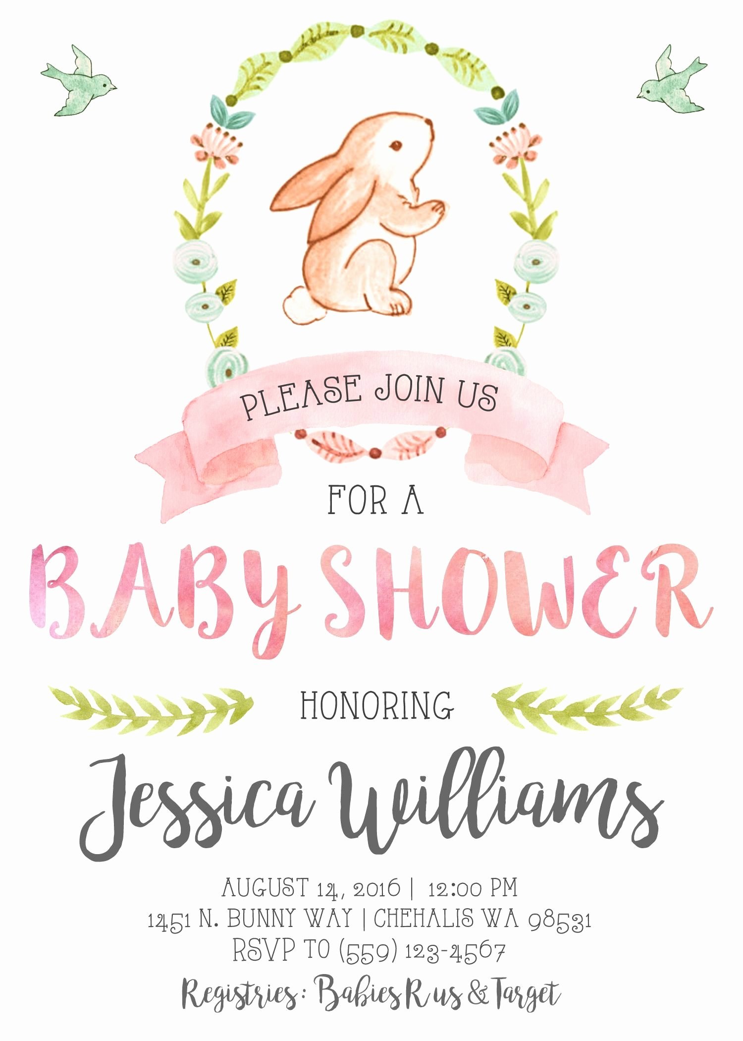 Bunny Birthday Invitation Template Elegant Get Free Printable Bunny Baby Shower Invitation Template