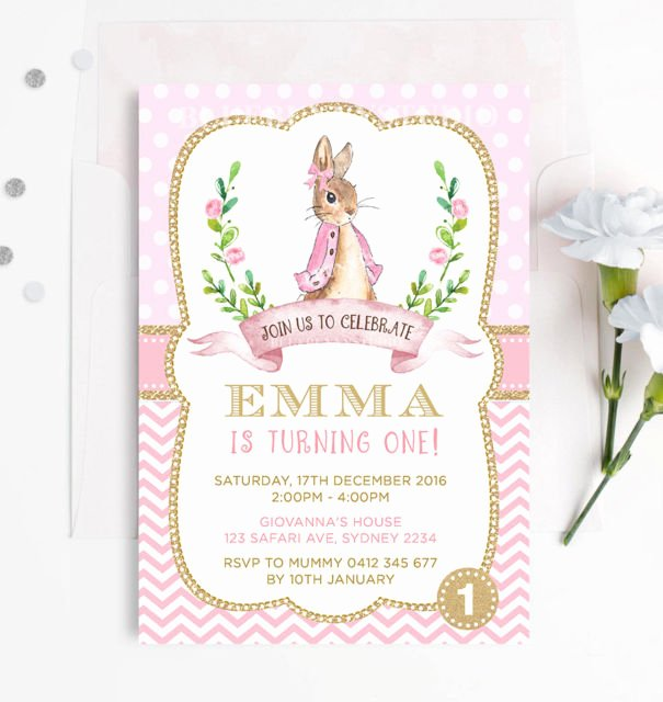 Bunny Birthday Invitation Template Fresh Pink and Gold Peter Rabbit 1st First Birthday Invitation