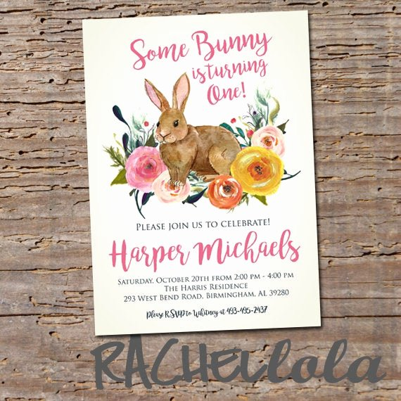 Bunny Birthday Invitation Template Fresh some Bunny is Turning One Smaller Floral Rabbit Birthday