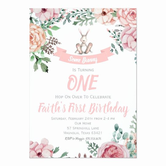 Bunny Birthday Invitation Template Inspirational some Bunny Floral Birthday Invitation