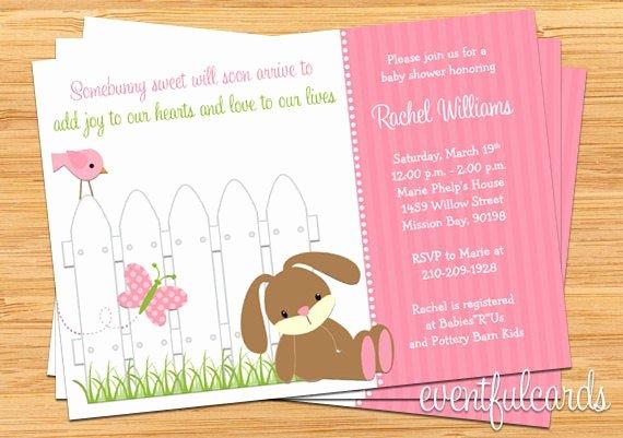 Bunny Birthday Invitation Template Luxury Bunny Baby Shower Invitation Printable
