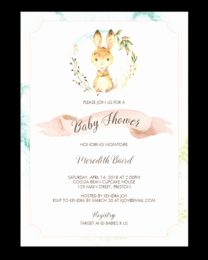 Bunny Birthday Invitation Template Luxury Free Printable Bunny Baby Shower Invitation Template