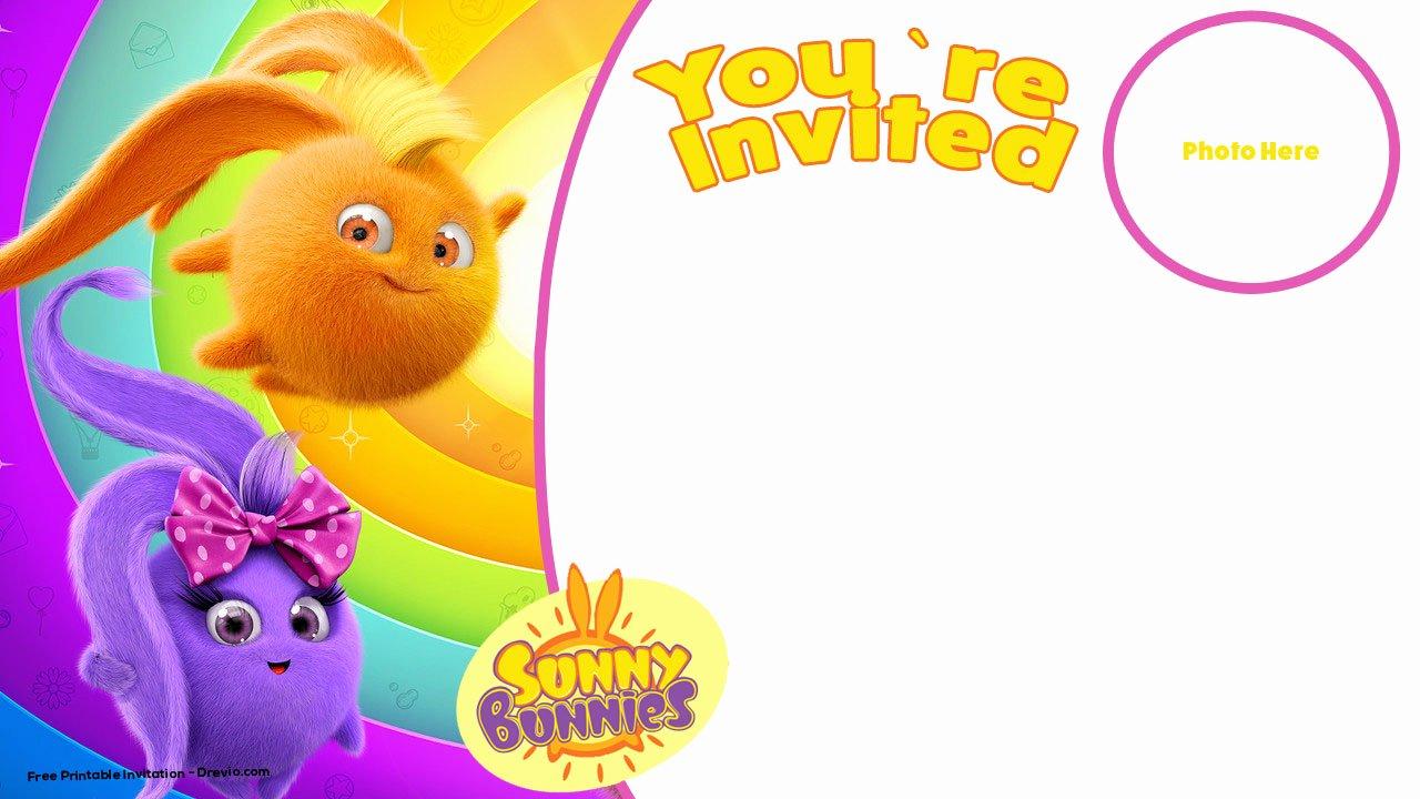 free printable sunny bunnies birthday invitation template