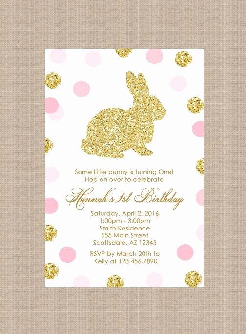 Bunny Birthday Invitation Template Luxury Gold Bunny Rabbit Birthday Party Invitation Polka Dots