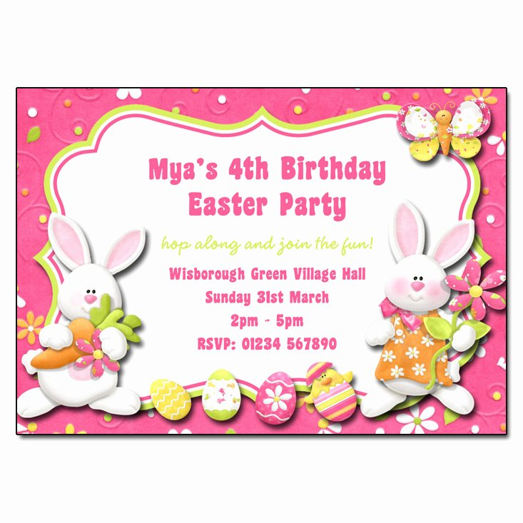 Bunny Birthday Invitation Template New Easter Bunny Party Invitation