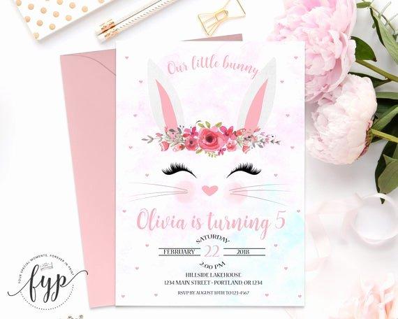 Bunny Birthday Invitation Template Unique Bunny Birthday Invitation Printable some Bunny Invitation