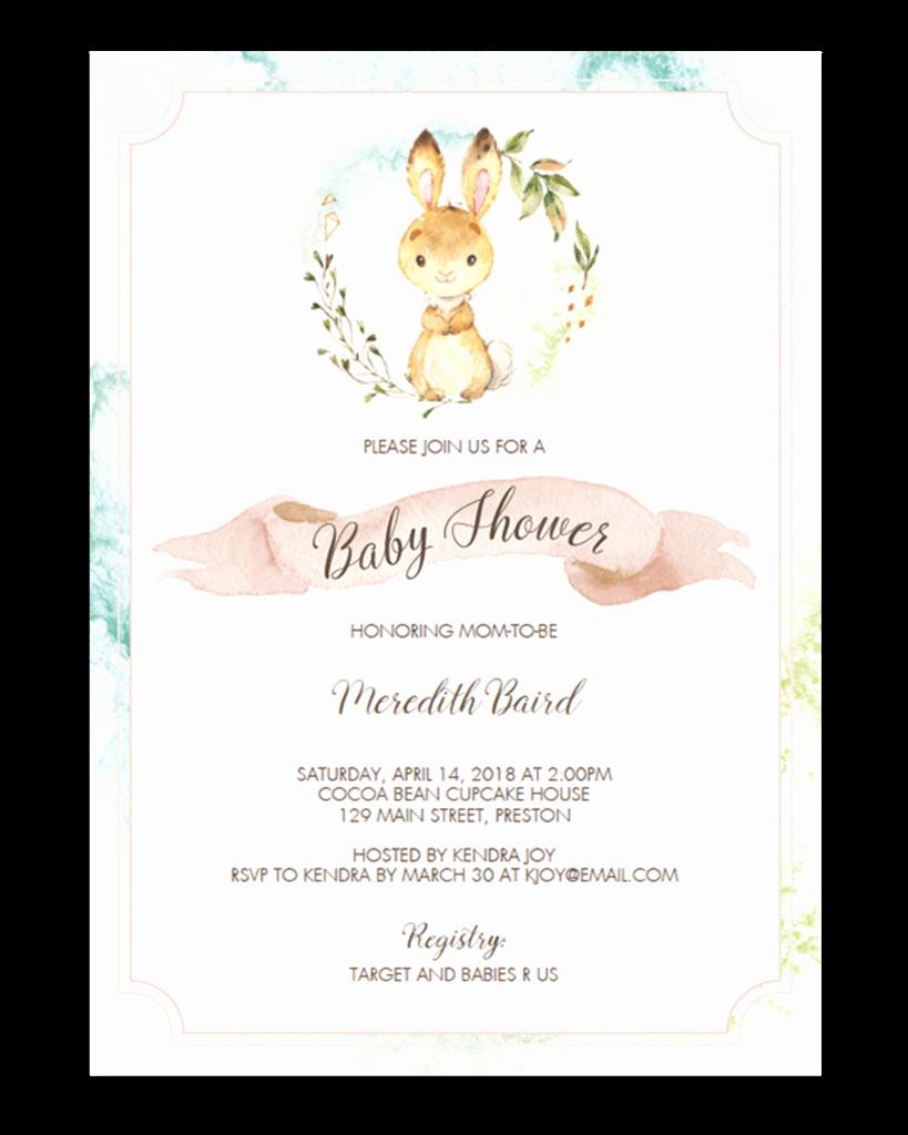 Bunny Birthday Invitation Template Unique Watercolor Bunny Baby Shower Invitation Template