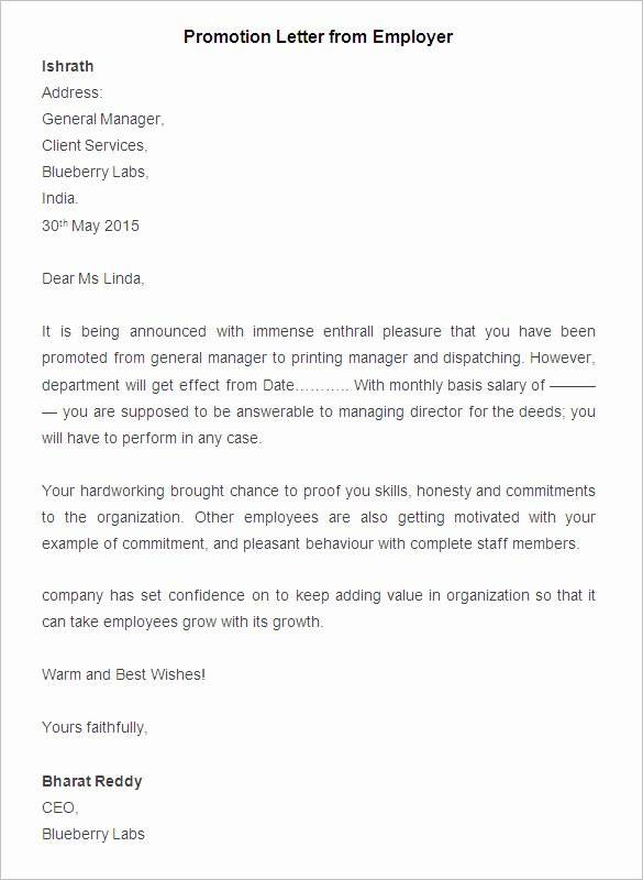 Business Case for Promotion Template Best Of 20 Promotion Letter Templates Pdf Doc Apple Pages