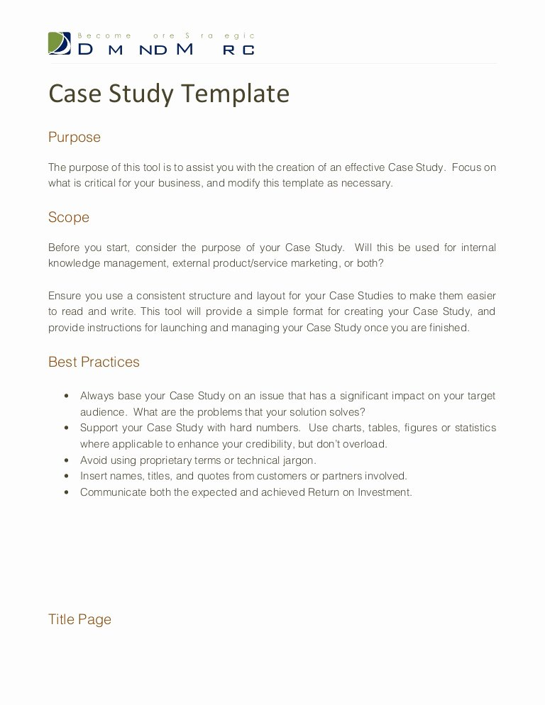 Business Case Study Examples Elegant Case Study Template