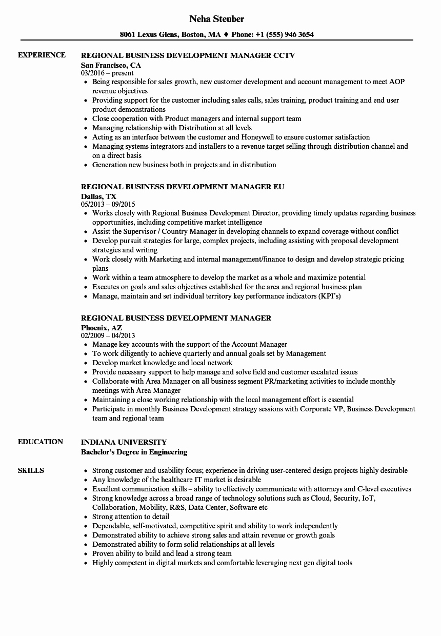 Business Development Manager Resume Best Of Regional Business Development Manager Resume Samples