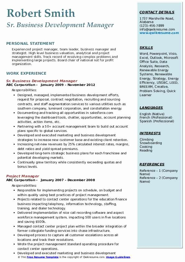 Business Development Manager Resume Fresh Business Development Manager Resume Samples