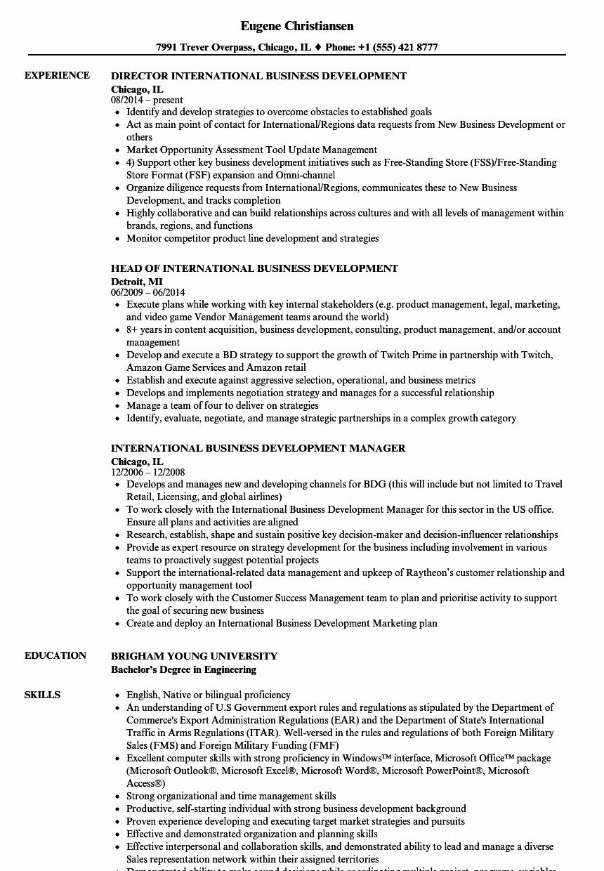Business Development Manager Resume Inspirational Business Development Resume