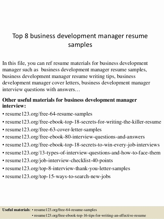 Business Development Manager Resume Luxury top 8 Business Development Manager Resume Samples