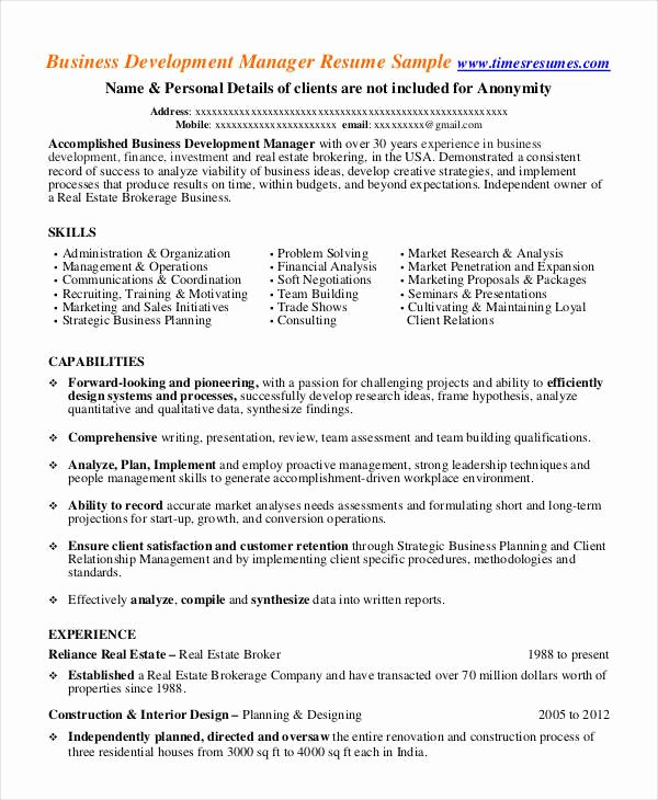 Business Development Manager Resume Unique 32 Manager Resume Templates Pdf Doc