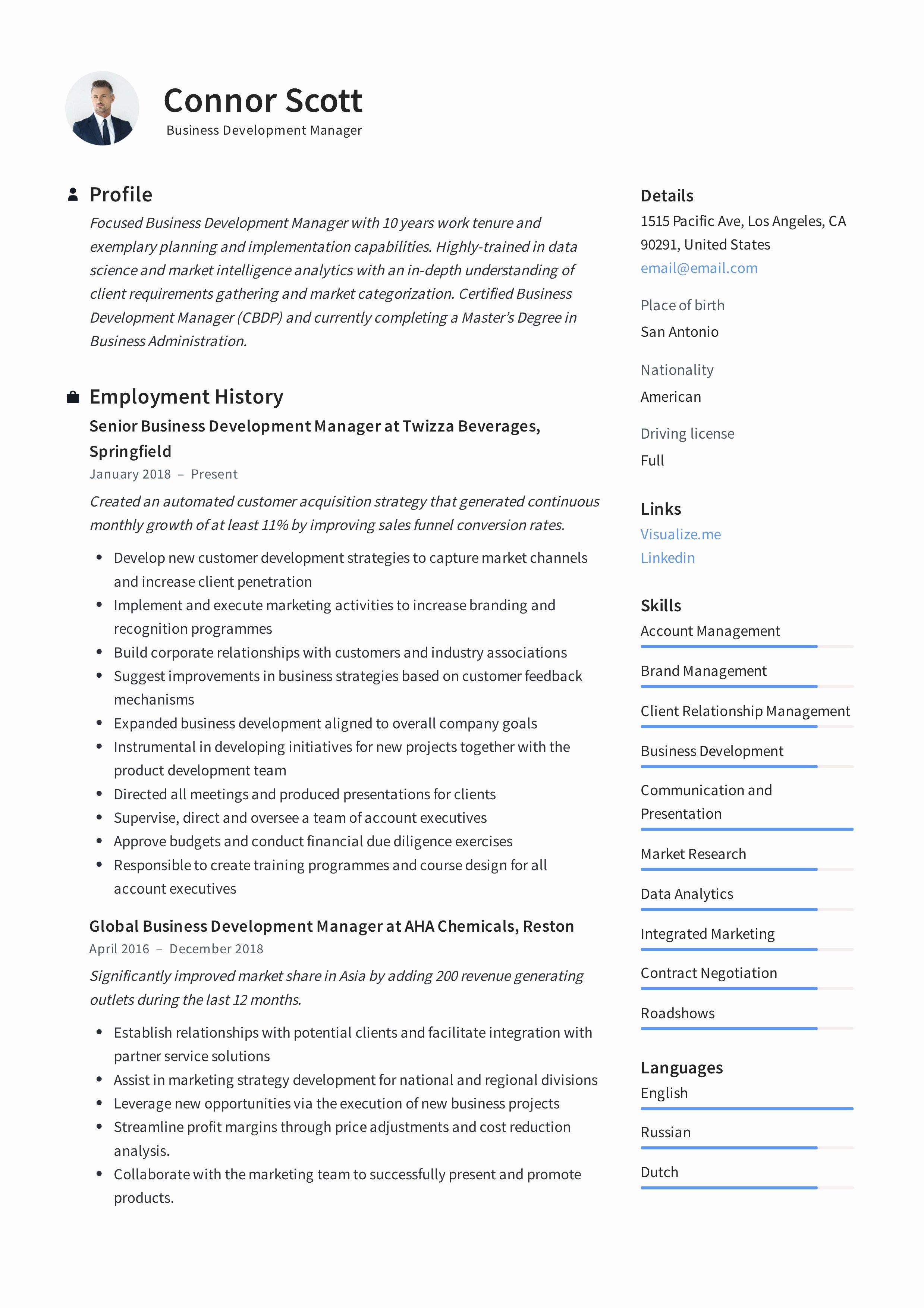 Business Development Manager Resume Unique Business Development Manager Resume & Guide