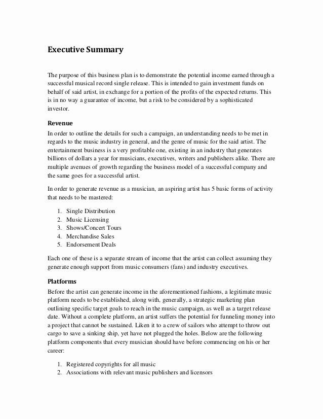 Business Executive Summary Example Awesome Music Marketing Plan Executive Summary