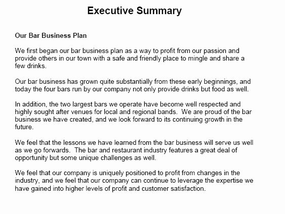 Business Executive Summary Example Luxury Executive Summary Sample