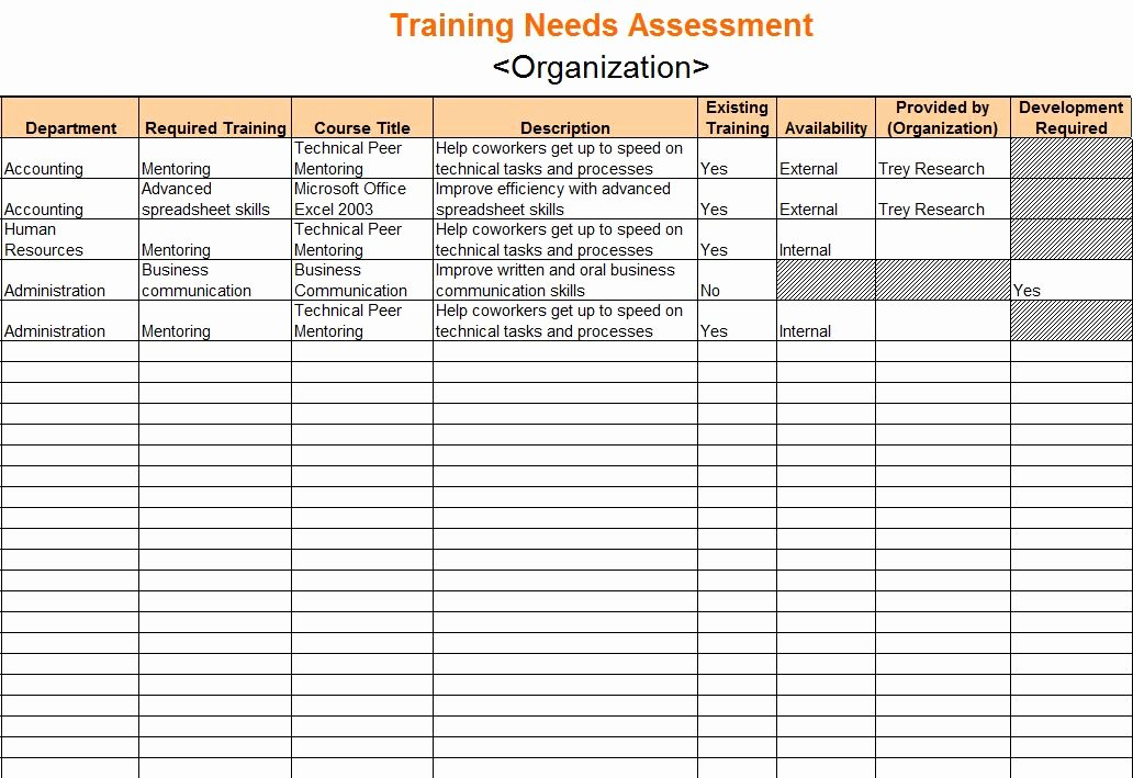 Business Needs assessment Template Awesome Training Needs assessment