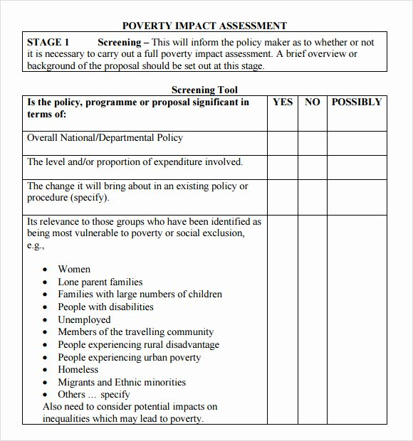 Business Needs assessment Template Fresh Sample Impact assessment 8 Documents In Pdf Excel