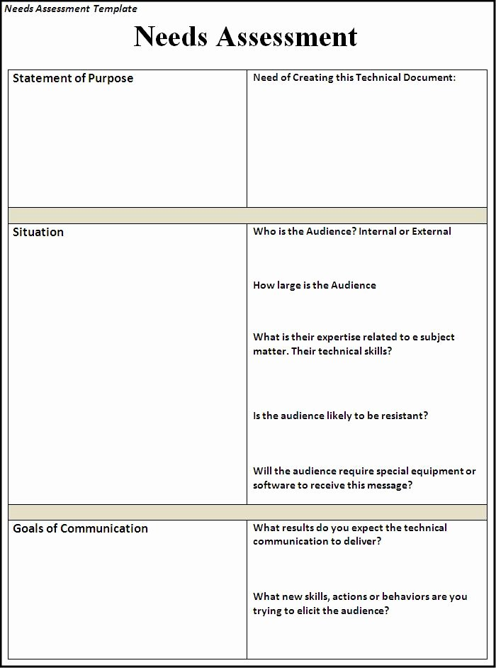 Business Needs assessment Template Luxury Needs assessment Template