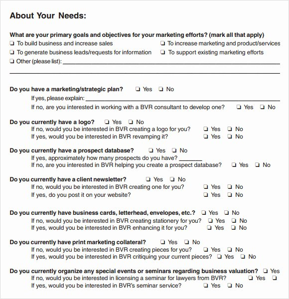 Business Needs assessment Template Unique Free 7 Sample Needs assessment Templates In Pdf