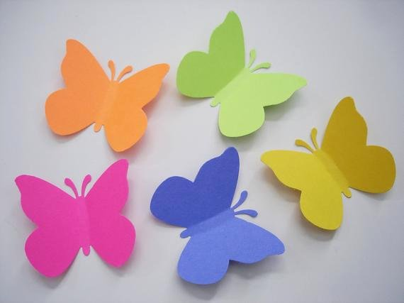 Butterfly Paper Cut Out Best Of 50 Bright butterfly Punch Cut Cutout Paper Embellishments