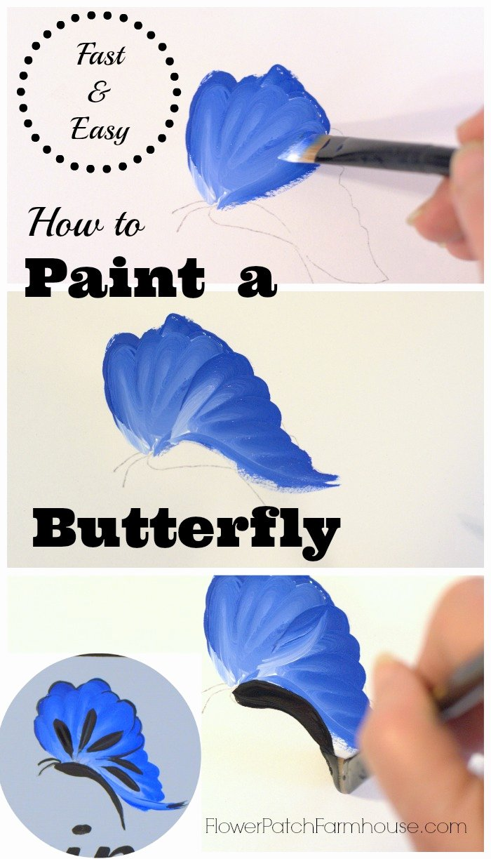 Butterfly Pictures to Paint Awesome How to Paint A Blue butterfly Flower Patch Farmhouse