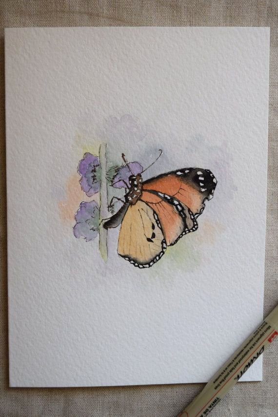 Butterfly Pictures to Paint Best Of Monarch butterfly Watercolor Painting Card original or