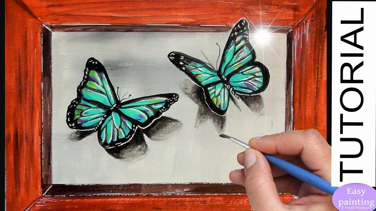 Butterfly Pictures to Paint New How to Paint 3d butterfly Blue butterflies Acrylic