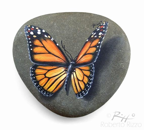 Butterfly Pictures to Paint New original Hand Painted Monarch butterfly Resting On A Rock
